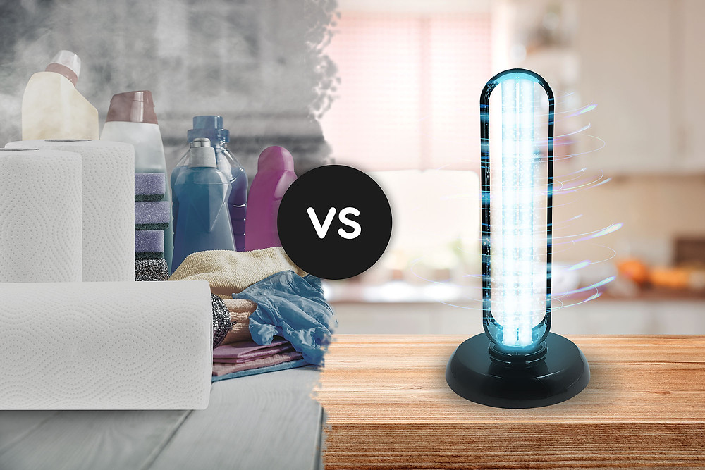 UV-C lamp versus traditional cleaning products