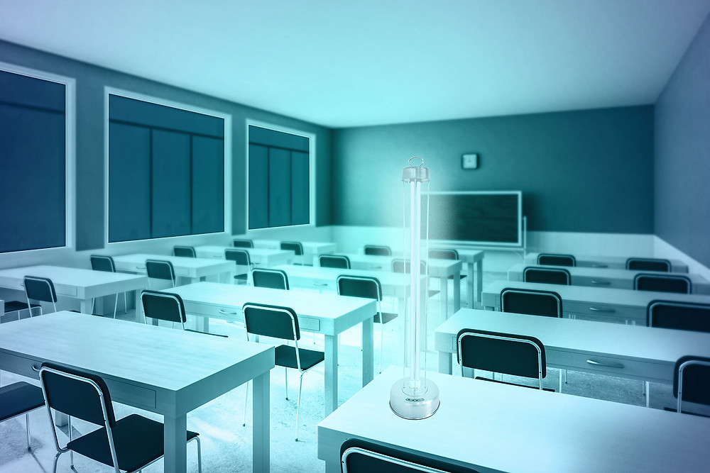 UV-C lamp in a classroom