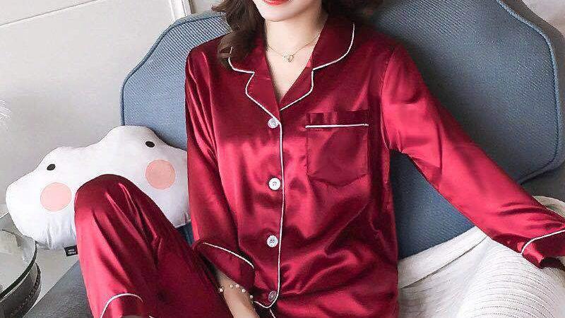 Women Pajama Sets Silk Satin Pijama Turn-Down Collar Sleepwear Lady Long