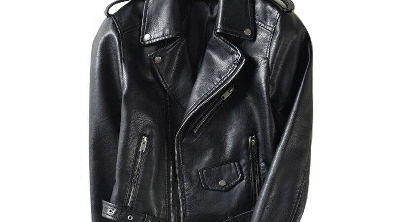 With Belt Autumn Women Leather Jacket Moto Biker Asymmetric Zipper Female