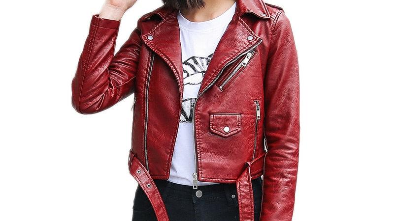 Ftlzz Pu Leather Jacket Women Fashion Bright Colors Black Motorcycle Coat Short