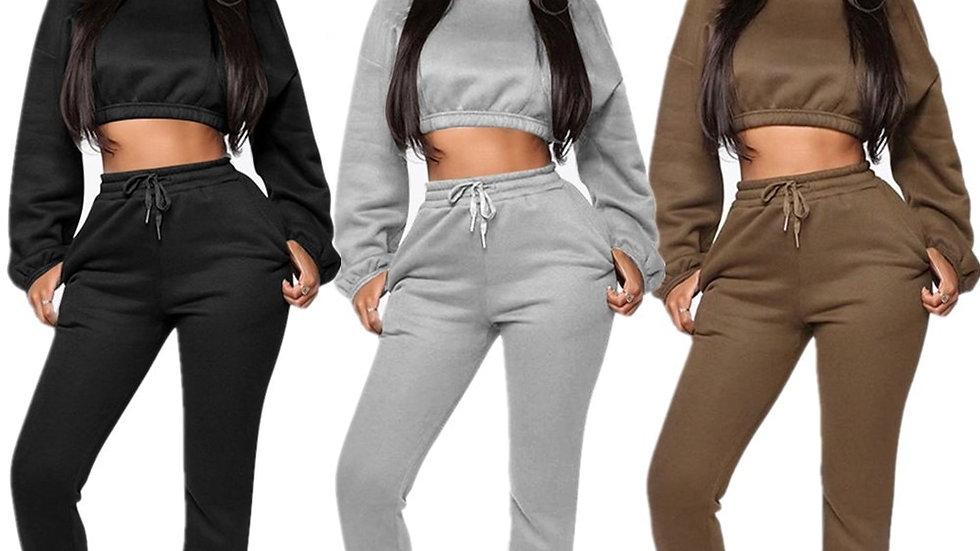 Echoine Winter Thick Fleece Hoodies Tops and Pants Two Piece Set Women