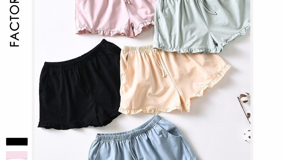 Pure Color Simple Women Sleep Bottoms Simple Natural Cotton Ladies Pajamas