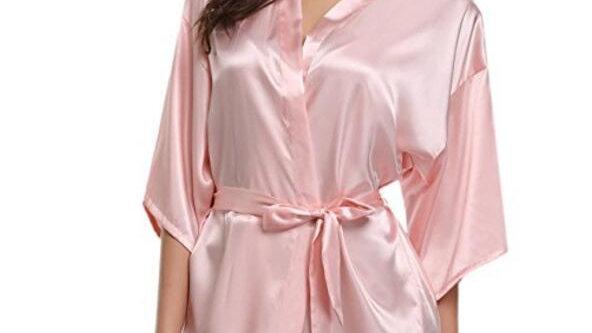 RB032 2018 New Silk Kimono Robe Bathrobe Women Silk Bridesmaid Robes