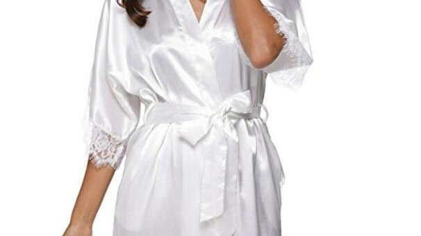 Plus Size Lace Patchwork Bride Bridesmaids Robe Sexy Lingerie Women Silk Wedding