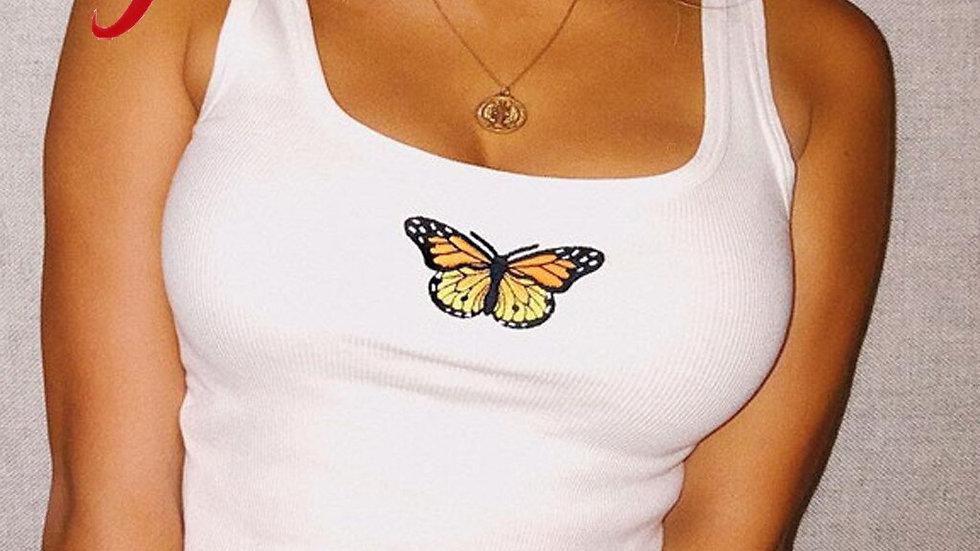 Feitong Sexy Crop Top Women Sleeveless Butterfly Print Summer Tops