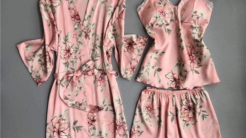 Nighties Women Pajamas Sleepwear Pijama Silk Home Wear Lace Home Robe Chest