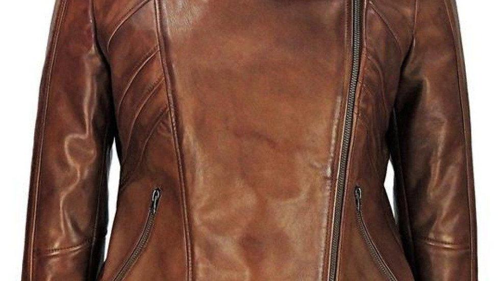 Sasha High Fashion Womens Hooded Leather Jacket