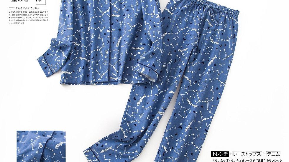 Cotton Pajamas Sets Women Sleepwear Spring Autumn Korea Sweet Cartoon