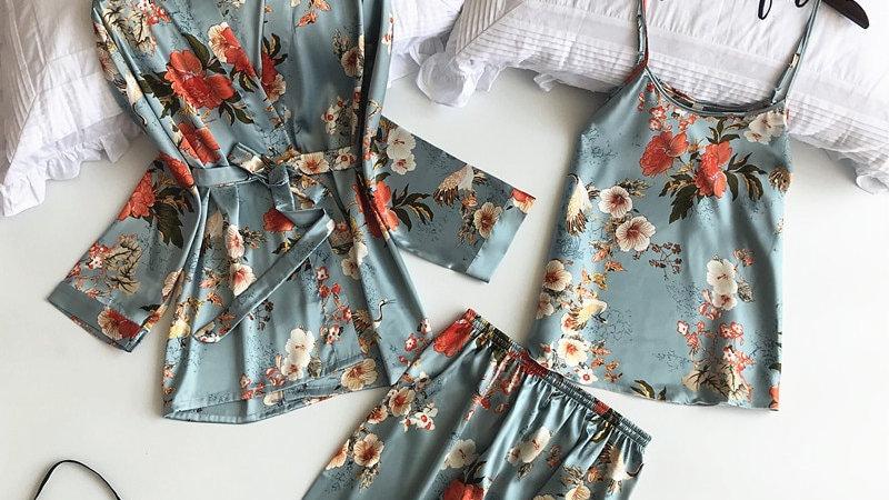 Freshing Summer 3 Pcs Printing Fashion Women Robe Nightdress+Cardigan+Pant Set