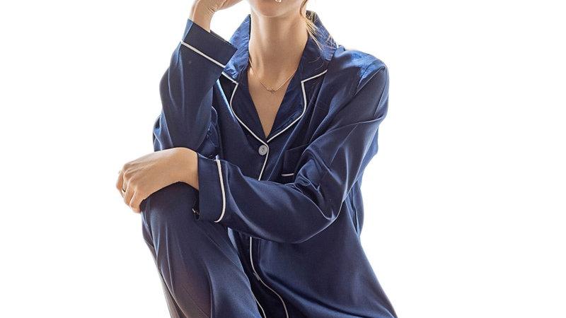 Womens Silk Satin Pajamas Pyjamas Set Sleepwear Pijama Couple Pajamas Suit