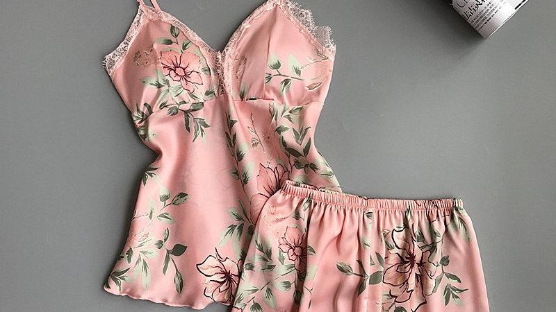 Spaghetti Strap  Printing  Lace Sexy Women Pajamas Female Summer Pajama Set