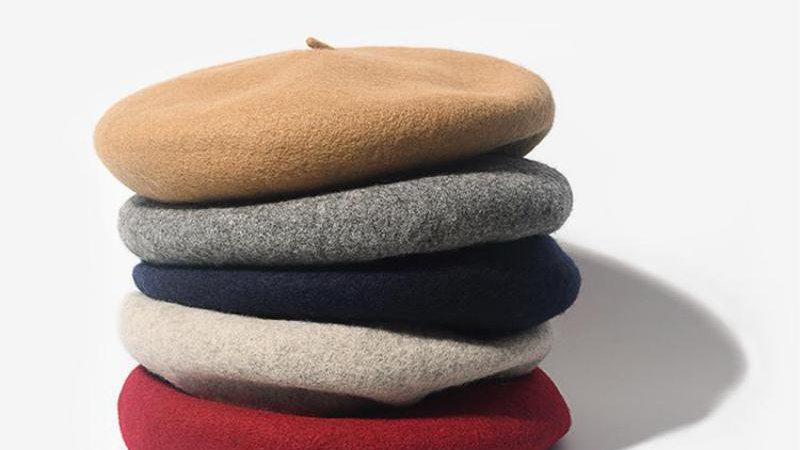 COKK Wool Beret Female Winter Hats for Women Flat Cap Knit 100% Cashmere Hats