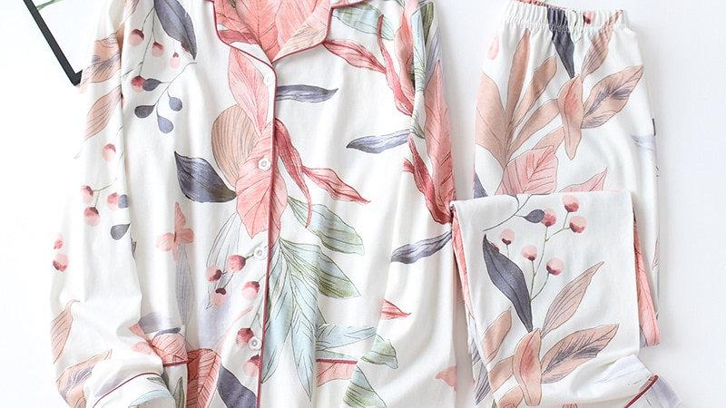 Women Long Sleeve Nightwear Pajama Set Turn-Down Collar Leaves Printing
