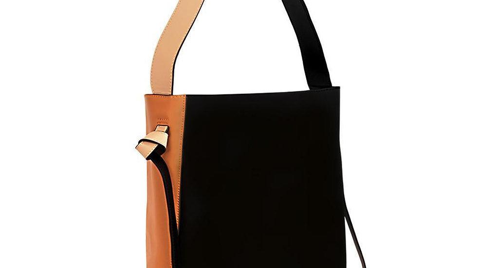 Versa Leather Tote -Orange/Black