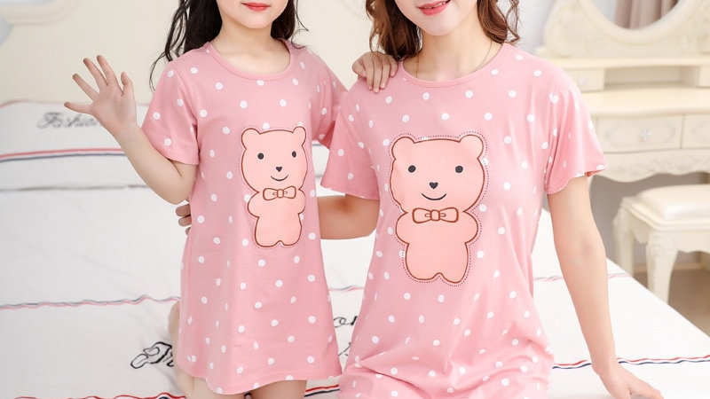Mother Daughter Dresses Summer Cotton Family Matching Outfit Cartoon Dressing