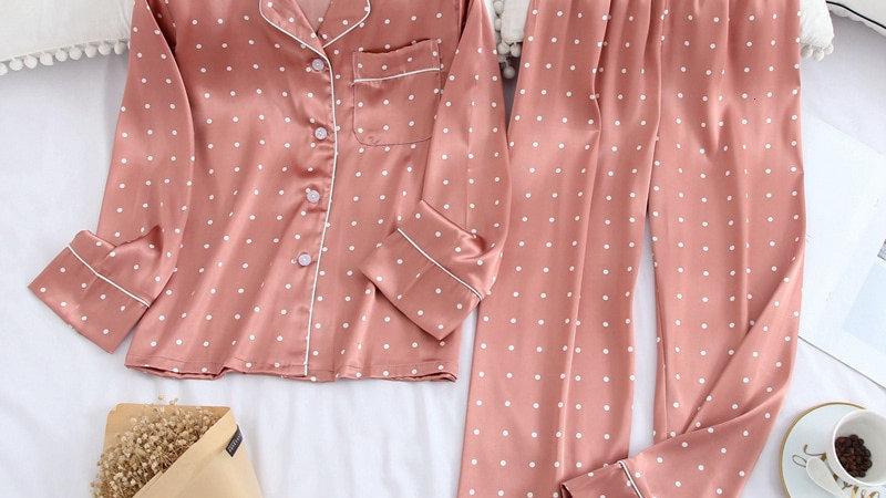 Lisacmvpnel Long Sleeve Pajamas Autumn Ice Silk Long Sleeve Trousers