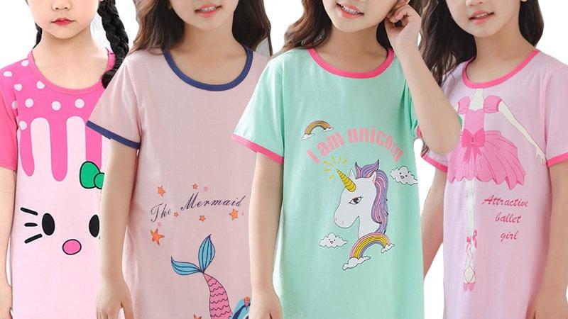 Unicorn Cotton Nightdress Little Teen Girl Pajamas Dresses Children Cartoon