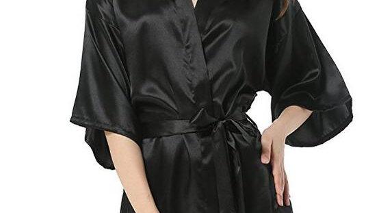 New Black Chinese Women's Faux Silk Robe Bath Gown Hot Sale Kimono Yukata