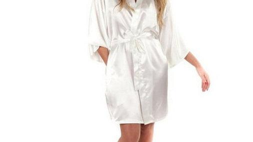 Women Silk Satin Short Night Robe Solid Kimono Robe Fashion Bath Robe Sexy