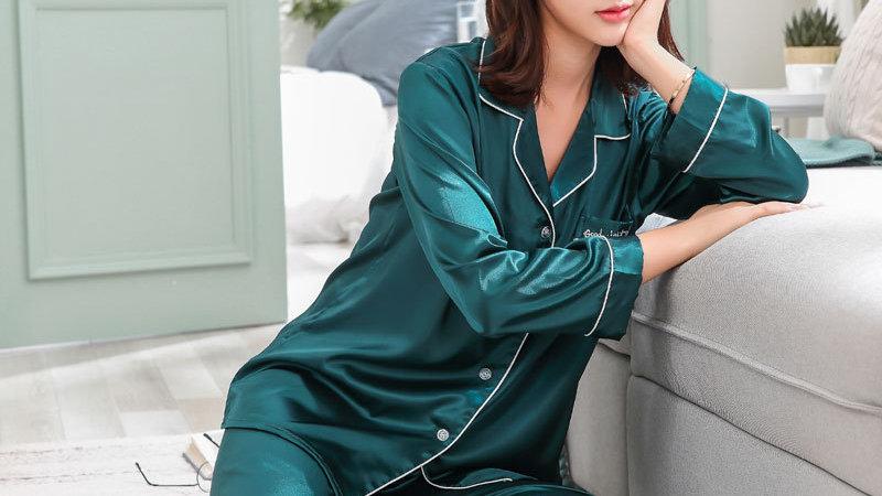 BZEL Sleepwear Women's Couple Pajamas Pijamas Women Satin Pyjama Woman
