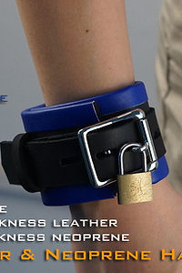 Blue Hand Cuffs-neoprene & leather