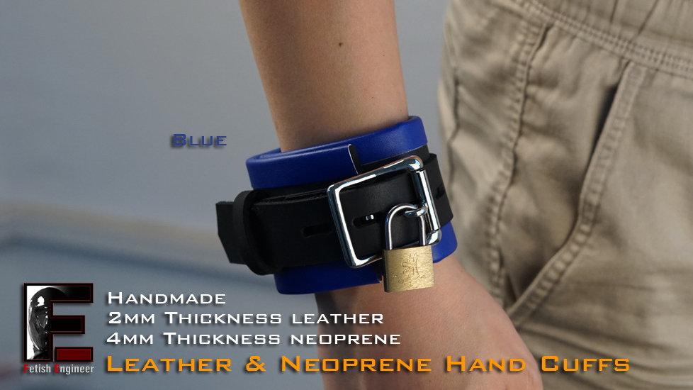 Blue Hand Cuffs-neoprene & leather