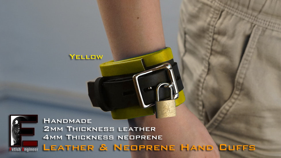 Yellow Hand Cuffs-neopren & leather