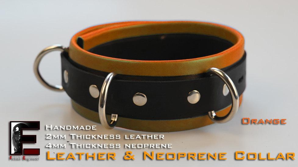Orange Collar-neoprene & leather