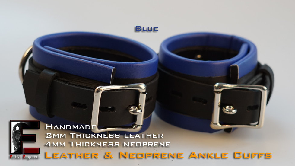 Blue Ankle Cuffs-neoprene & leather
