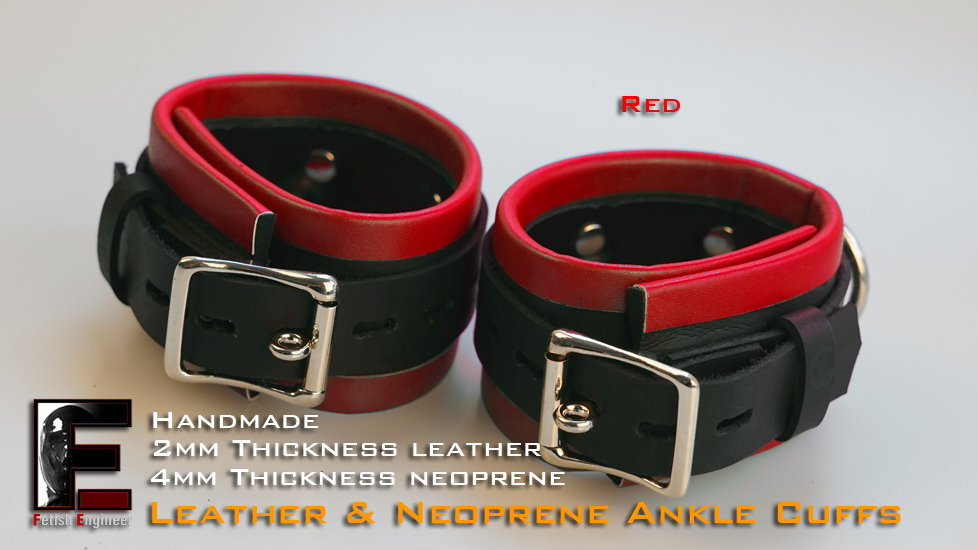Red Ankle Cuffs-neoprene & leather