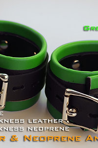 Green Ankle Cuffs-neoprene & leather
