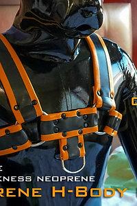 H Shaped Neoprene Cheast Harness-Orange