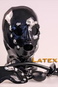 Latex Hood with eyeshade & gag-1.2mm