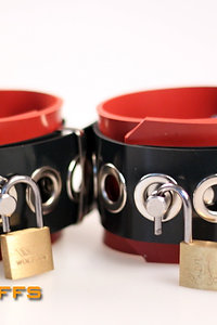 Rubber Red Wrist Cuffs