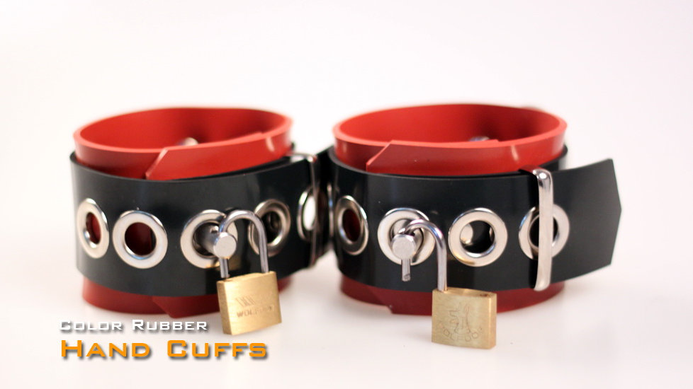 Rubber Red Wrist Cuffs