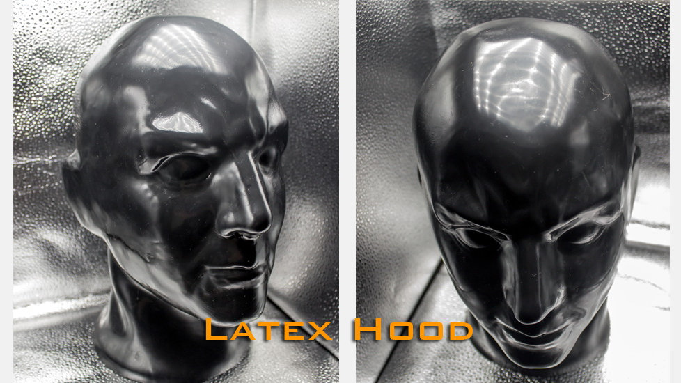 Latex Human Face Hood with Zip Back-2.0mm