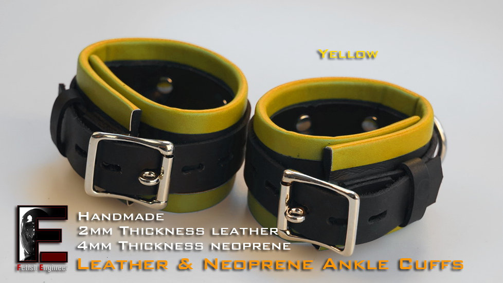 Yellow Ankle Cuffs-neoprene & leather