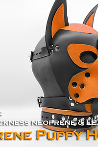 Orange-Neoprene Dog Mask/Puppy Hood