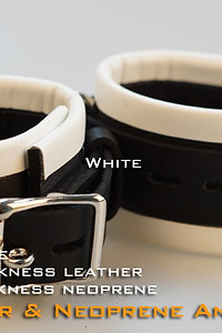 White Ankle Cuffs-neoprene & leather