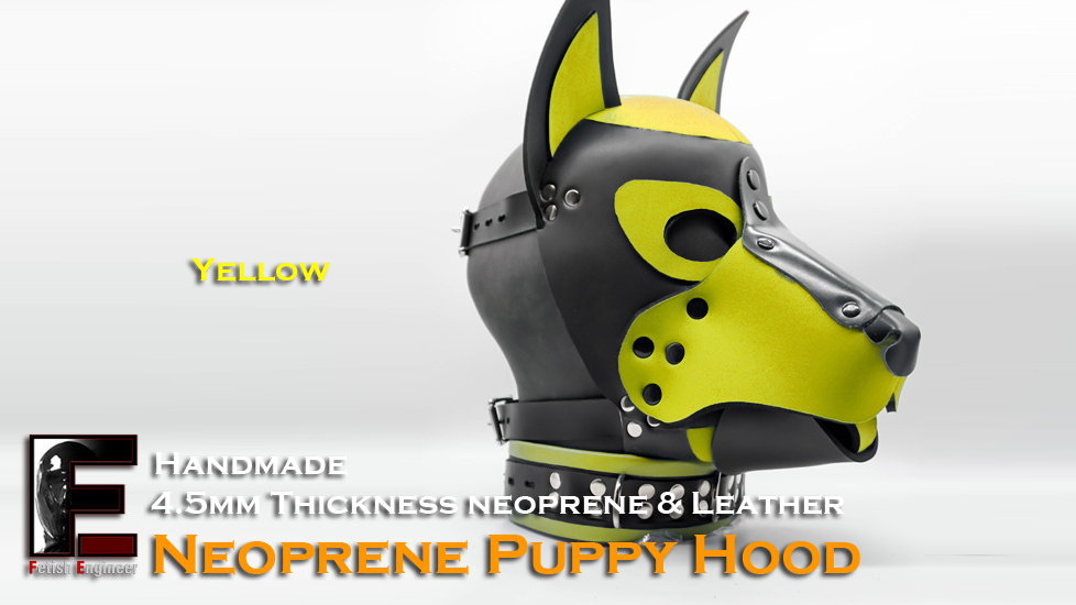 Yellow-Neoprene Dog Mask/Puppy Hood
