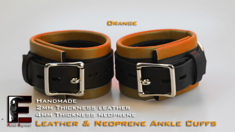 Orange Ankle Cuffs-neoprene & leather