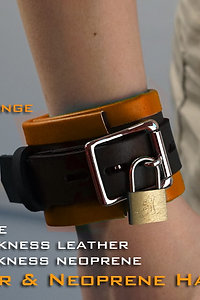 Orange Hand Cuffs-neoprene & leather