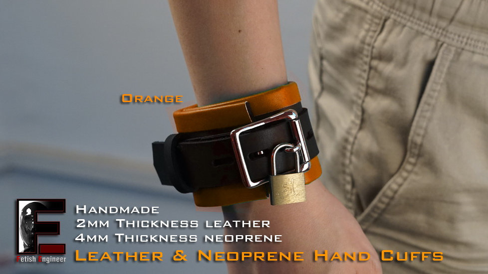 Orange Hand Cuffs-neoprene & leather