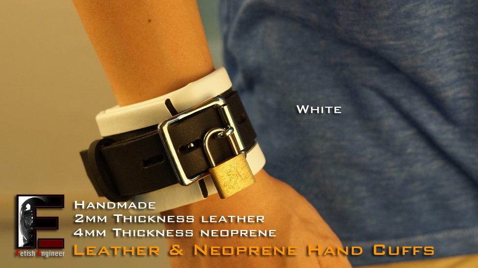 White Hand Cuffs-neoprene & leather