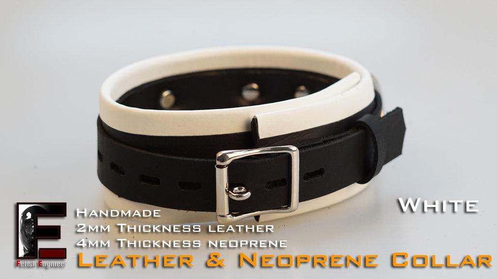 White Collar-neoprene & leather