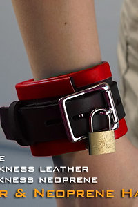 Red Hand Cuffs-neoprene & leather