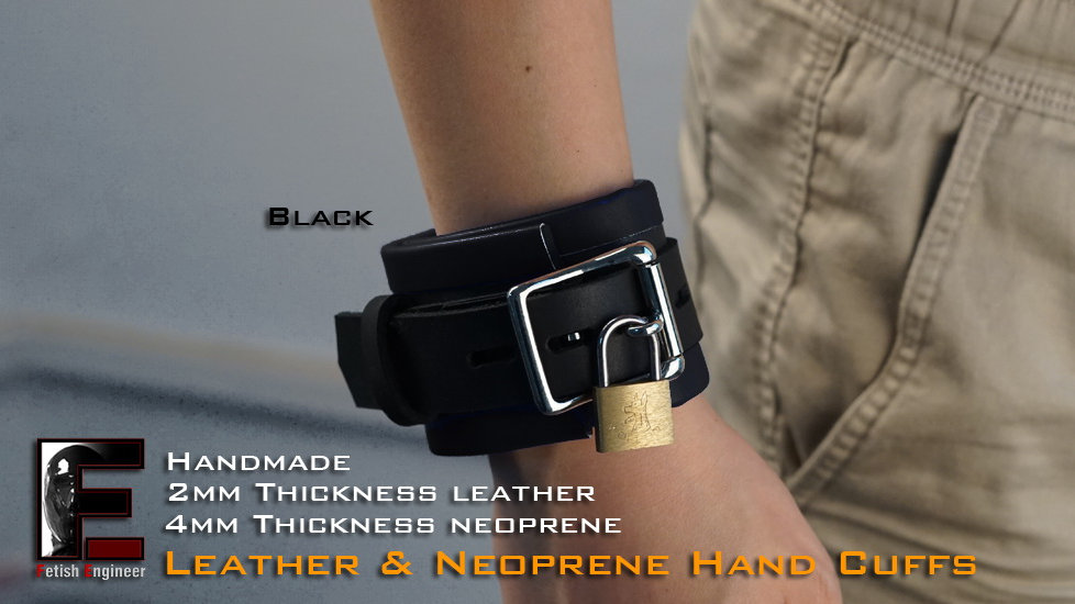 Black Hand Cuffs-neoprene & leather