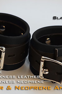 Black Ankle Cuffs-neoprene & leather