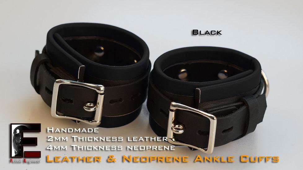Black Ankle Cuffs-neoprene & leather